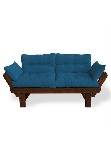 Woodesk Toro Masif Ceviz-Mavi Renk 2Li Kanepe Mavi